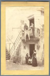 Italia-Costumi-Palermo-Quartiere-Kalsa-Vintage-albumen-print-Tirage-albumin