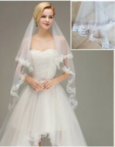 UK-White-Ivory-2-Tier-Fingertip-Length-Bridal-Wedding-Veil-Lace-Edge-With-Comb