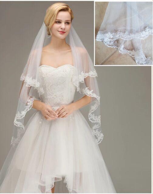 Wedding Veil Bridal Bride 2 Tier White Fingertip Length Plain Satin Hem Edge For Sale Ebay