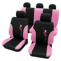 Girly Car Seat Covers Pink & Black Flower Pattern -toyota Starlet 1996-1999
