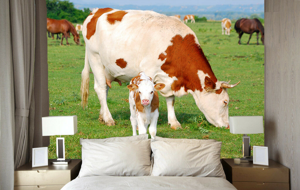 Papel Pintado Mural De Vellón Ternero Y Vaca Grande 23 Paisaje Fondo De Pantalla