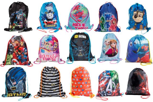Black Red Blue Drawstring Gym Bag Swim  Nursery Rucksack PE Kit Kids Girls