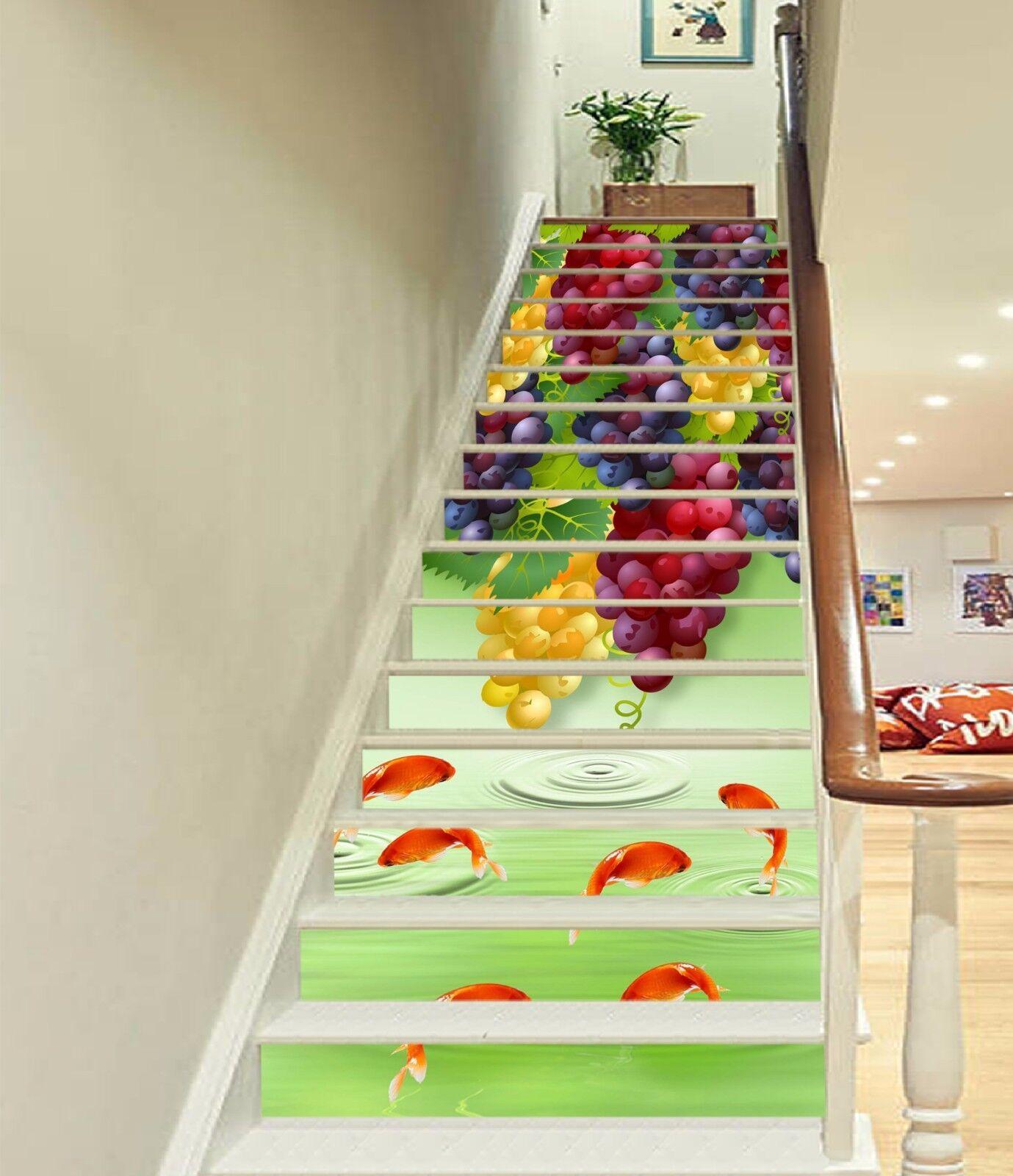 3D Grapes And Fish 473 Risers Decoration Photo Mural Vinyl Decal Wallpaper CA