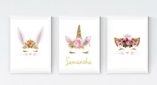 3 Unicorn Cat Rabbit Bunny Prints Personalised Name Pictures Nursery Wall Art