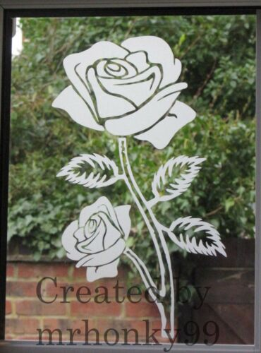 """ROSE FOR WALL PATIO DOOR RED /& GREEN FLOWER STICKER WINDOWS SHOWERS 10.74/"""""""