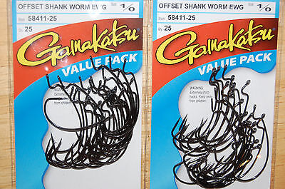 gamakatsu size 1//0 offset ewg shank worm senko hook 6 pr pack 58411