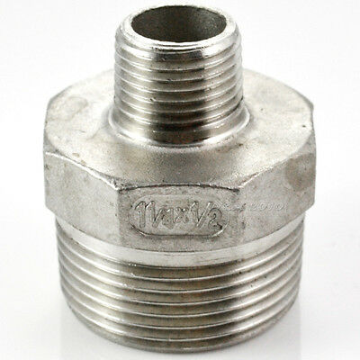 "Hex Nipple 1-1/4"" x 1/2"" Male Stainless Steel 304 Thread Reducer Pipe Fitting"
