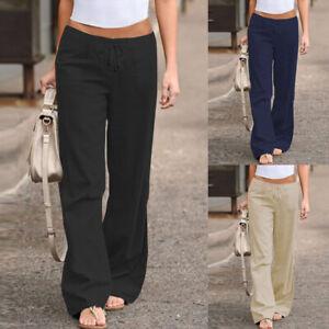 Mode-Femme-Pantalon-evasee-Casual-en-vrac-Loose-Jambe-Large-Bande-elastique-Plus