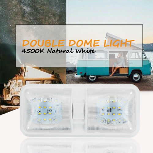 12V Double Switch Dome Ceiling Light 48LED Interior For RV Camper Caravan Boat