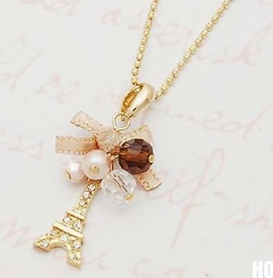 HO AU Hot Eiffel Tower Pendant With Necklace Golden Plated Chain Fashion Jewelry