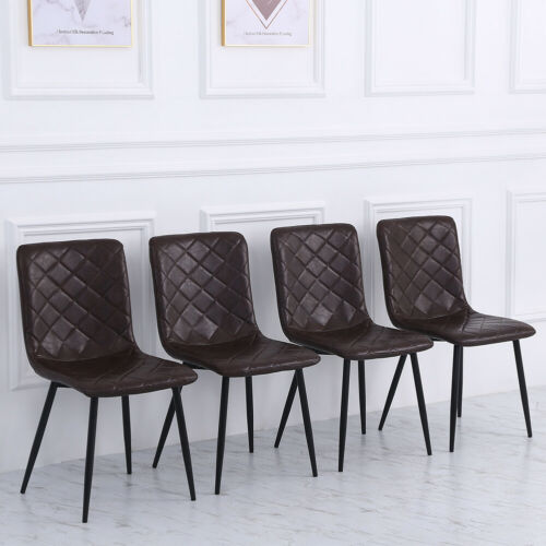 4 X Faux Leather Living Dining Room Chairs Padded Seat Metal Legs Kitchen Chair