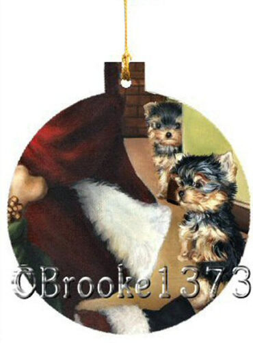 Yorkshire Terrier ORNAMENT CHRISTMAS TREE painting Dog waiting Santa FREE 2016