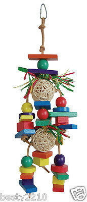 MEDIUM PARROT ACTIVITY TOY - COLOURFUL WOODEN BLOCKS, LEATHER STRAPS (LB-83)