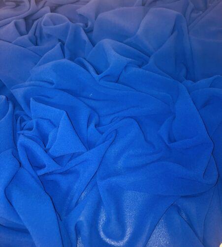 "3 mtr plain royal blue georgette chiffon,dress,crafts,bridal fabric..58"" wide"