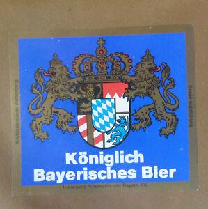 VINTAGE-GERMAN-BEER-LABEL-SCHLOSS-KONIGLICH-BAYERISCHES-BIER-BLUE