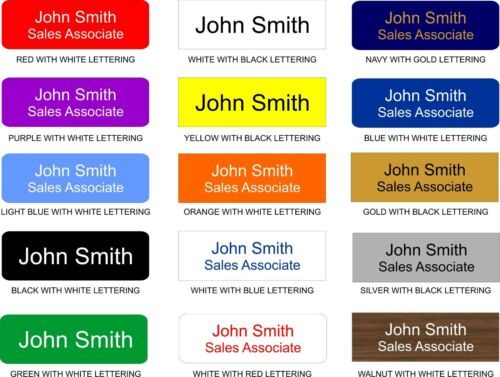 Custom 1 x 3 Employee Nametag Engraved with Magnetic Pin or Clip Back 15 Colors