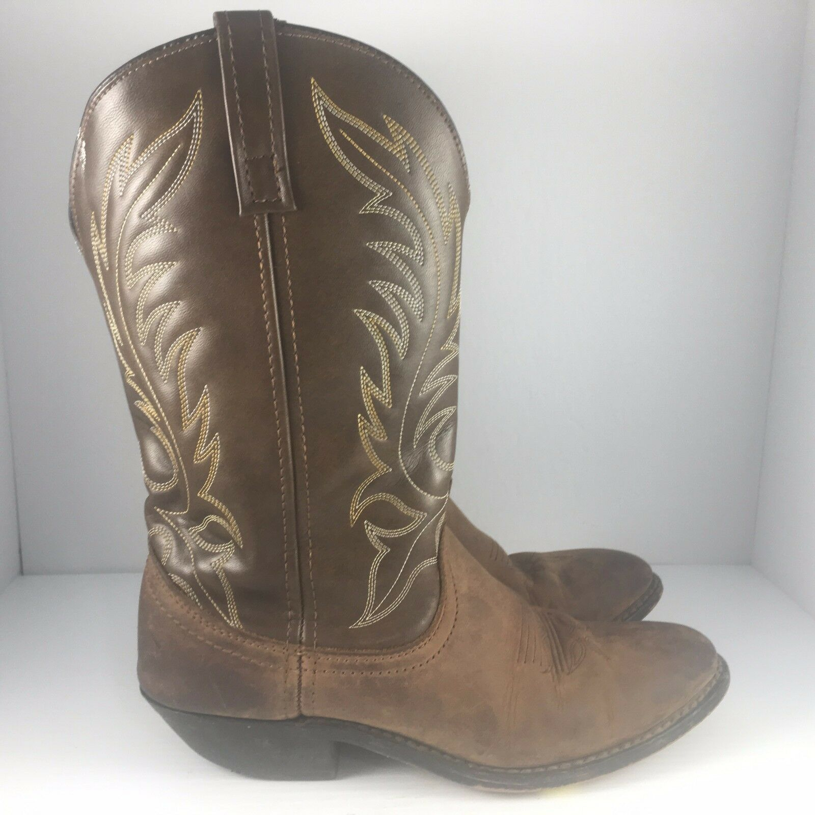 Laredo Womens US 8 Brown Distressed Leather Kadi 11in R Toe Western Cowboy Boots