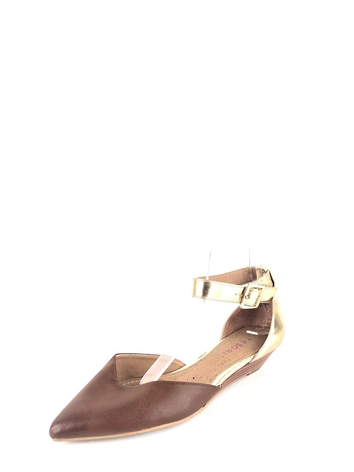 Tesori Annibell Women's Cognac Low Wedge Ankle Strap Pointy Flats Size 7 M
