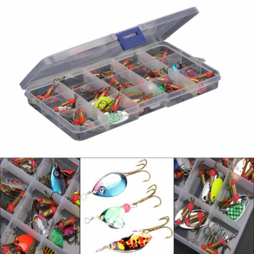 New Lot 30pcs Colorful Trout Spoon Metal Fishing Lures Spinner Baits Bass Tackle