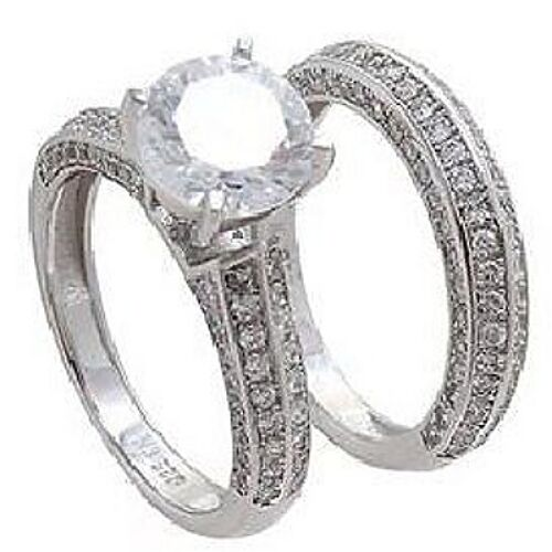14K W VERMEIL 3 SIDED CUBIC ZIRCONIA WEDDING  RING SET-925 SS--ONLY 1 ON EBAY