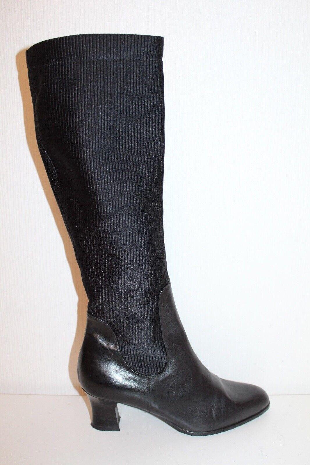 80er 80s Vintage TRUE VTG Echt LEDER Damen Stiefel Leder Stiefel 36 STRETCH
