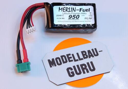 Guru Neu Merlin Fuel 950 mAh 11,1 V Lipo Akku mit M6 Multiplex Stecker v