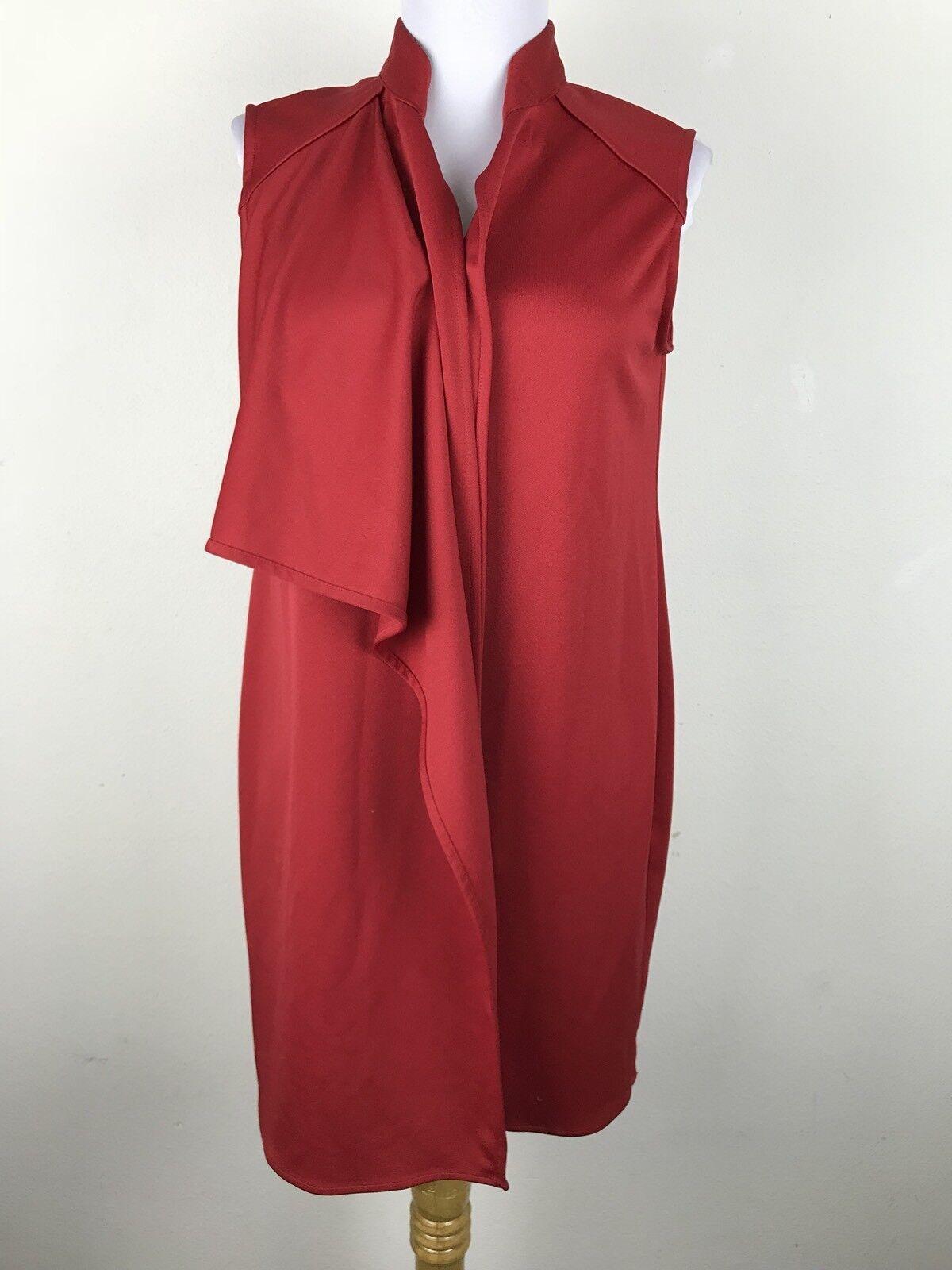MOSSEE Australia Dress Size 8 Red Shift Sleeveless Career Work Womens Draped
