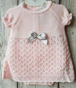 Girls Pink Dusky Pink /& Lemon Spanish Knitted Ribbon Dress Sets