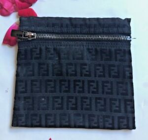 Image is loading Authentic-FENDI-Zucchino-Pouch-Black-cosmetic-bag -signature- 294f6ab6b66fa