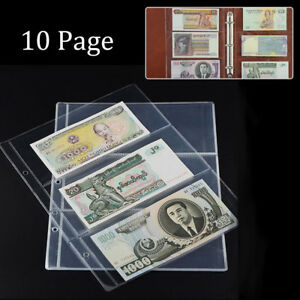 10 Pages Paper Money Holders Storage Album Banknote Collecting 3-Pockets Sheets 625678476461