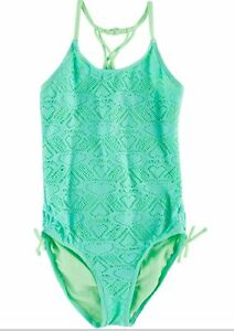 30aec6f573dc4 Heart Crochet One Piece Swimsuit Girls in Mint Green Angel Beach ...