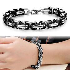 9MM Men's 316L Stainless Steel Bracelet Byzantine Box Wrist Chain Link Black 9''