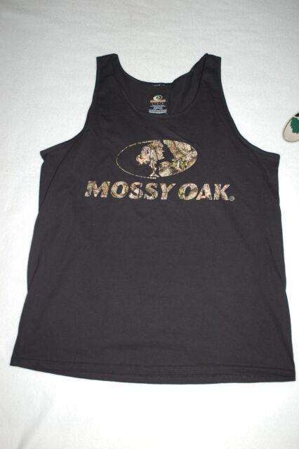 369ccb57ecc69d Mens Mossy Oak Tank Top Black W  Camo Lettering   Logo Size XL 46-48 ...