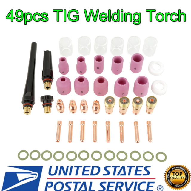 49PCS TIG Welding Torch Stubby Gas Lens #10 Pyrex Glass Cup Kit For WP-17//18//26