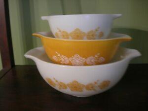 Pyrex Cinderella Bowls - Butterfly Gold  ~  EUC