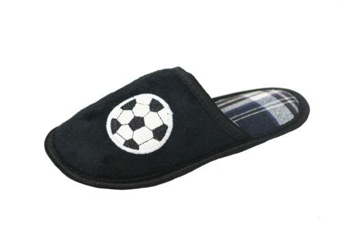 Boys Kids Football Mule Slippers Slip On Nightwear Sleepwear Sports UK 10-2