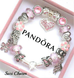 Pandora Bracelet 925 Ale Silver Pink Mom Angel Wing With European Charms New Ebay
