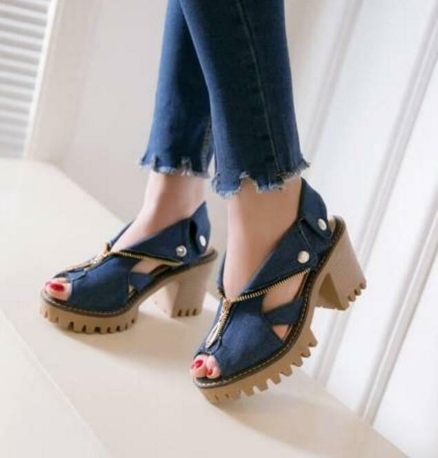 Women Peep Toe Slinback Zip Denim Block High Heels Platform Fashion Casual Shoes
