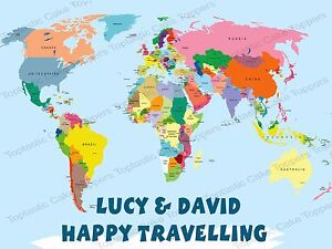 Personalised World Map Countries Travelling Rectangle Edible Icing - Earth map countries