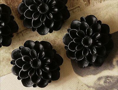 10x Resin Cabochons Blumen zum Kleben 18mm schwarz tm223