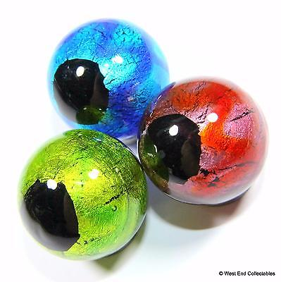 Set of 3 x 22mm Black Hole Glass Toy Marbles - Handmade Marble Collectors Set