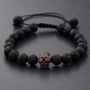 231dd71a4b63 Charm Man s Lava Stone Zircon Black Skull Head Beads Braided Macrame ...
