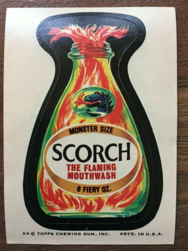 1974 Topps Wacky Packages Scorch Mouthwash Series 8 Sticker Tan Back NM