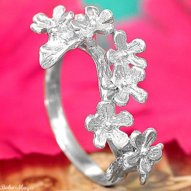 Flowers Sterling Silver Ring 925 Solid Band Floral Jewelry Handmade Select Size