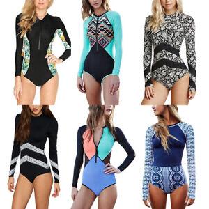 e5d94ad80183c Women One Piece Swimsuit Surfing Long Sleeve Rash Guards Swimwear ...