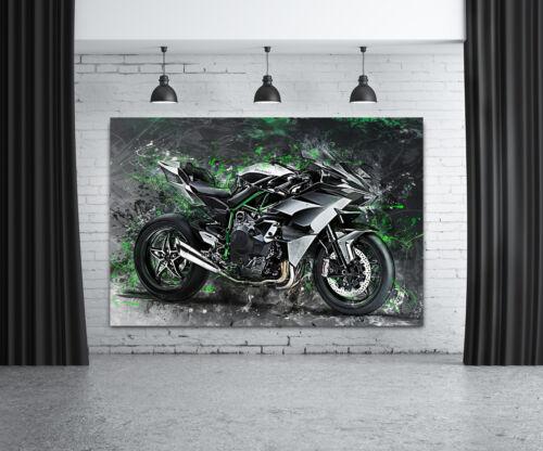 Kawasaki Ninja H2R Leinwand Bild Motorrad Deko Wandbild Poster XXL Kunst