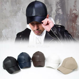 5641253f952 Image is loading NewStylish-Mens-Fashion-Accessories-Hat-Plain-Leather-Ball-