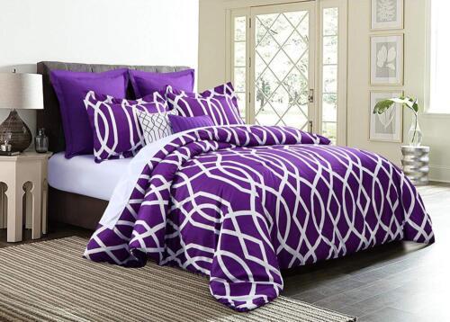 Luxurious 10-PC Modern Geometric Revers Comforter Set Bed In A Bag W// Sheet Set