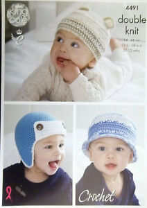 Details about King Cole Crochet DK pattern baby hats to fit 0 - 12 months 6  styles 4491 49d81e9aebb