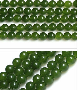 6-8-10-12-14mm-Natural-Green-Jade-Round-Gemstone-Loose-Beads-15-034-Strand-AAA